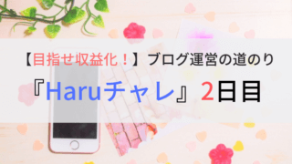 目指せ収益化!ブログ運営の道のり『Haruチャレ』2日目