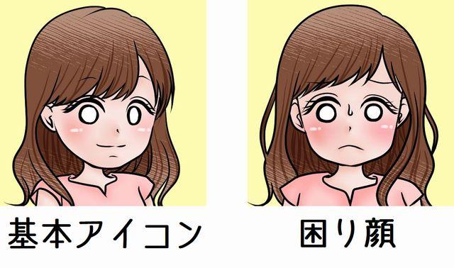 ココナラで作成してもらった基本アイコンと困り顔の2つのアイコン