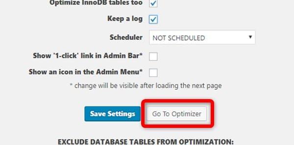最適化設定確認画面で確認後、「Go To Optimaizer」をクリックして最適化開始する
