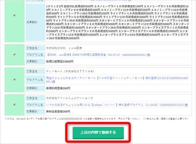 A8ネットの登録内容確認画面