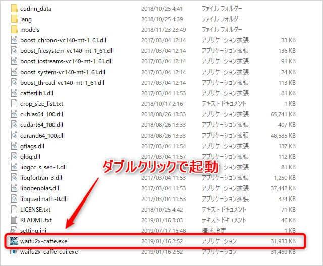 解凍された「waifu2x-caffe.zip」ファイル