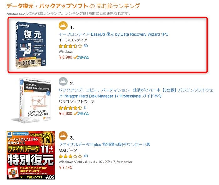 Amazonのデータ復元・バックアップソフト売り上げランキング