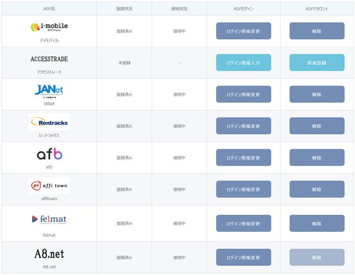 アフィリエイトフレンズのASP一括管理画面